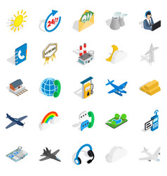 aircraft icons set isometric style vector image