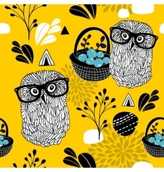 Autumn time seamless pattern with forest owls in vector