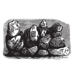 Aztec rock inscription is a collection rocks vector