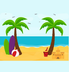 Beach with palms with place for text summer vector