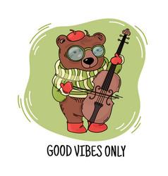 Bear musician print animal music cartoon congratul vector