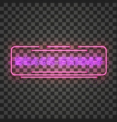 black friday purple neon sign in red frame vector image