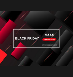 black friday sale banner stylish red and black vector image
