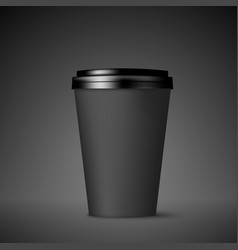 Black paper coffee cup with lid coffee to go vector