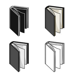 black standing book icon in cartoon style isolated vector image
