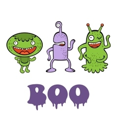 Boo card with three funny monsters vector