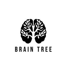 Brain tree creative learning logo template vector