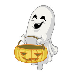 Cartoon ghost character hold halloween pumpkin vector