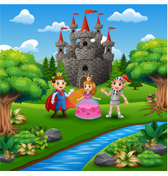 Cartoon of knight with princess and prince couple vector