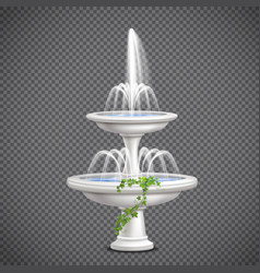 Cascade water fountain realistic transparent vector