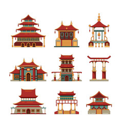China traditional buildings cultural japan vector