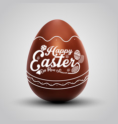 Chocolate easter egg with ornament vector