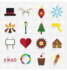 Christmas sticker icon set vector