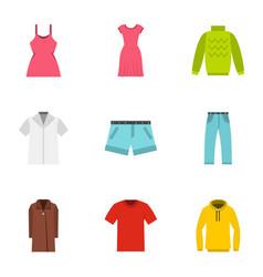 clothing icons set flat style vector image