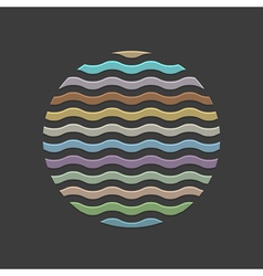 Colored waves in circle element for design vector