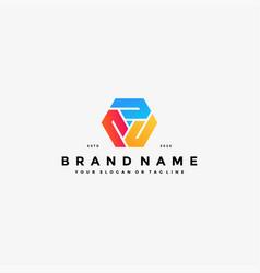 Colorful hexagon letter j logo design vector