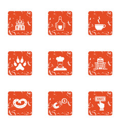 Compensation icons set grunge style vector