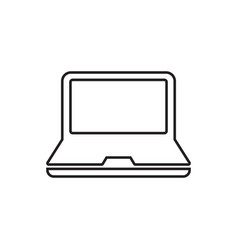 Computer notebook in line style monitor flat icon vector