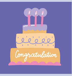 Congratulations lettering on a big bday cake vector