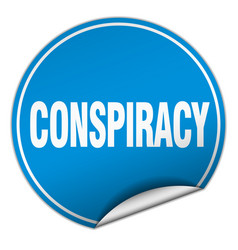 Conspiracy round blue sticker isolated on white vector