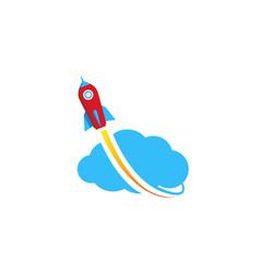 creative cloud rocket logo vector image