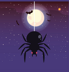 Creepy spider animal with moon in scene of vector