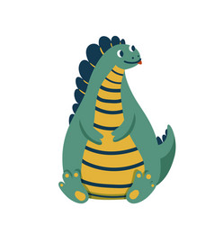 Cute baby fat dinosaur sitting on his ass vector