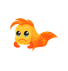 cute upset goldfish funny fish cartoon character vector image