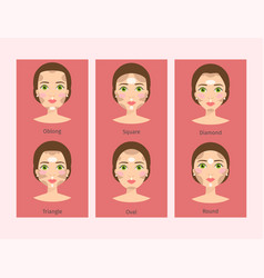 Different woman face types vector
