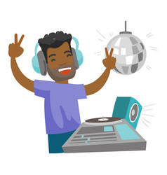 Dj mixing music on turntables in the night club vector