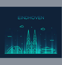 eindhoven skyline netherlands line big city vector image