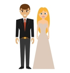 Elegant bried and groom couple wedding vector