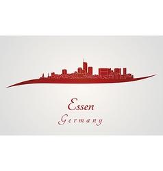 Essen skyline in red vector image