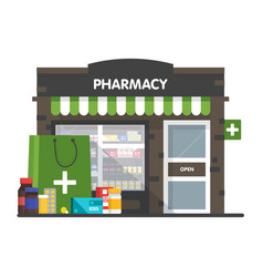 Facade pharmacy sale drugs and pills vector