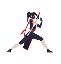 Female japanese warrior ninja or samurai brave vector