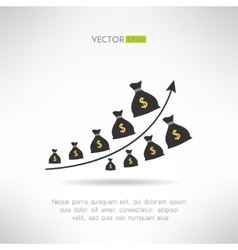 Financial graph with money bags Income raise vector image