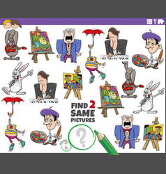 Find two same comic characters educational task vector