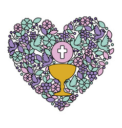 First communion in chalice with floral heart vector