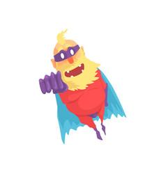 Flat cartoon character elderly superhero in vector