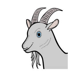 Goat cute funny cartoon head vector