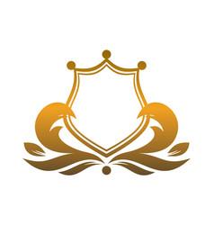 Gold king shield logo icon vector