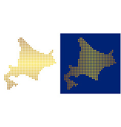 Golden abstract hokkaido island map vector