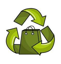 green bag inside of recycling symbol vector image