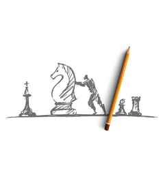 Hand drawn man moving huge chess figure vector