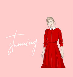 hand drawn woman in red collar dress fashion vector image