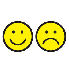 Happy and sad face icons vector