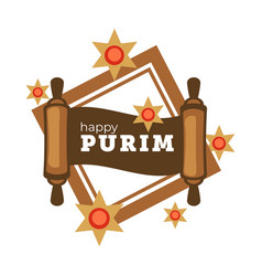 happy purim holiday celebration of event in jewish vector image