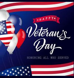 Happy veterans day usa lettering banner vector