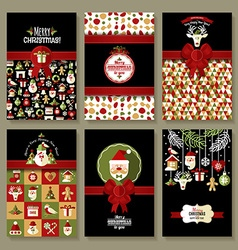 Holiday banner set of Christmas in flat style vector