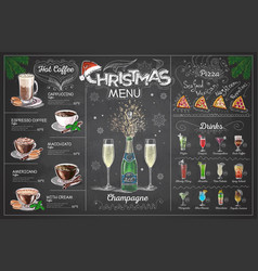 holiday christmas menu design with champagne vector image